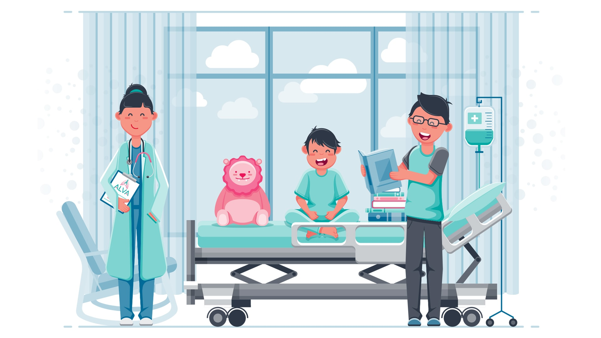 Child in Hospital Illustration